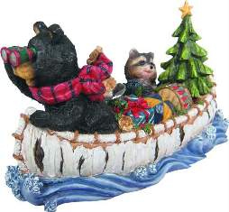 CHRISTMAS BOAT--BEAR & RACCOON #gd984