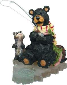 FISHING BEAR W/RACCOON  gd986