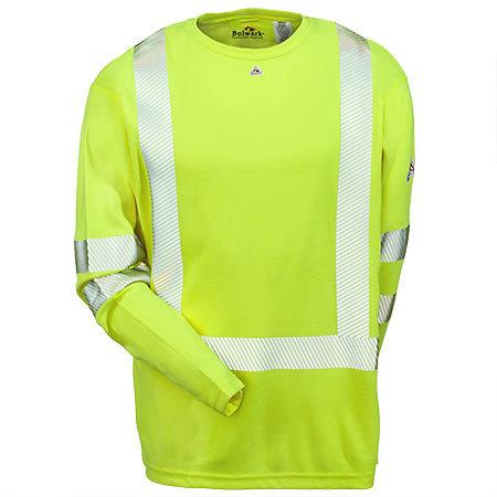Bulwark Hi-Visibility Flame-Resistant Long Sleeve T-Shirt - Power Dry® FR  #SMK2HV
