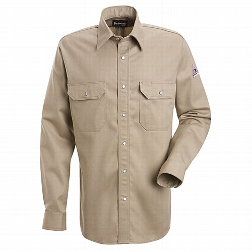 Bulwark Shirts: SES2 TN Men's FR Snap Front Long Sleeve Tan Shirt BLWSES2TN